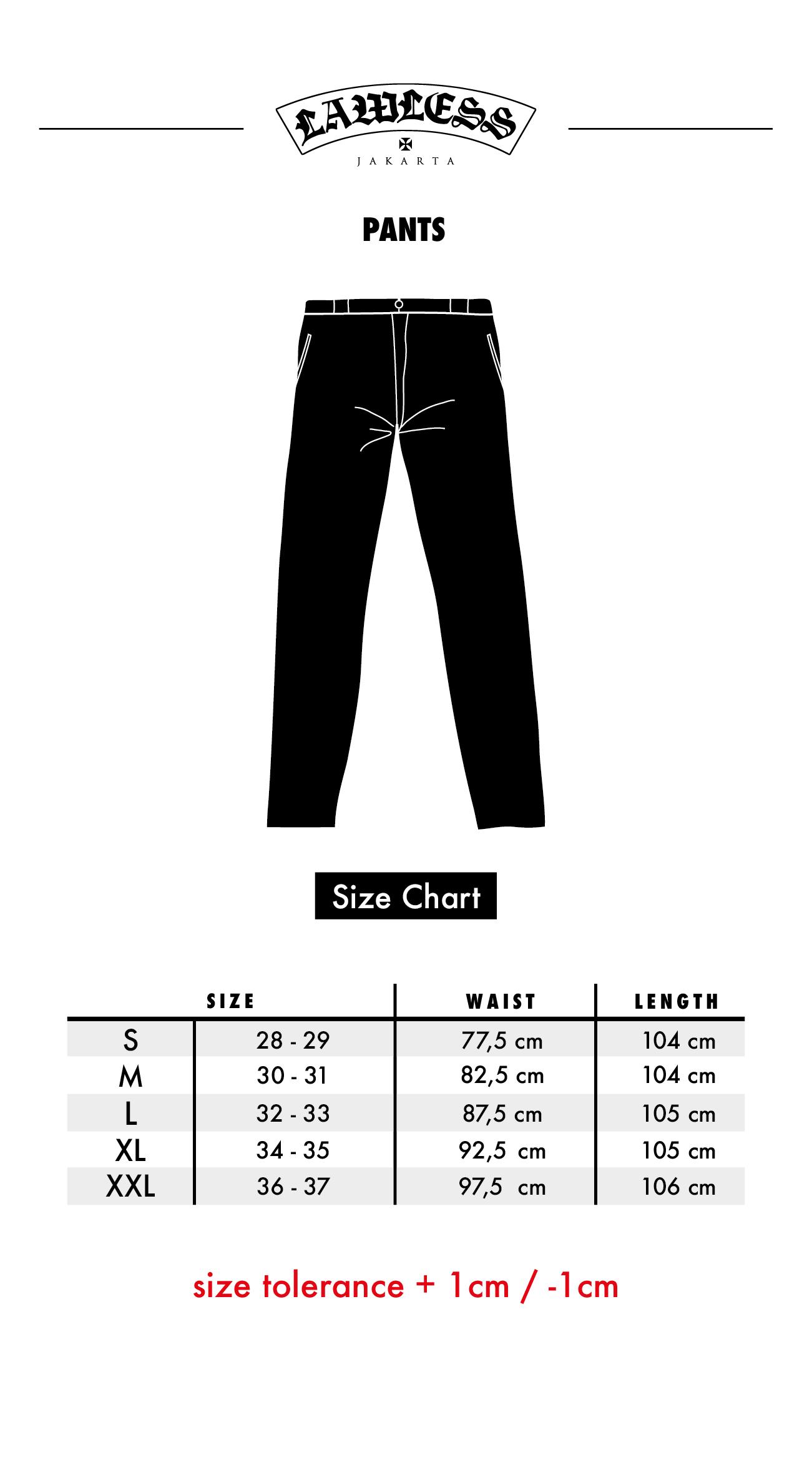 Size Chart Chino Pants