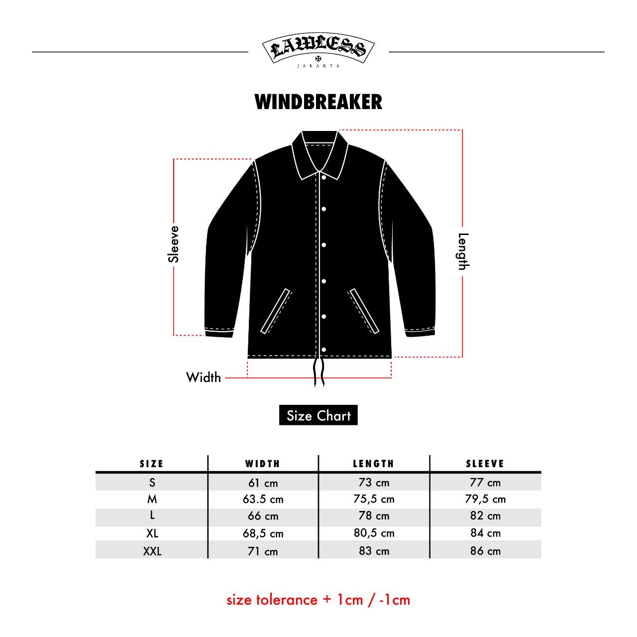 Size Chart Windbreaker LJ